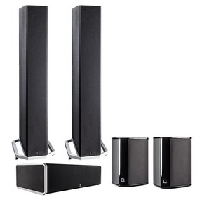 BP9040 5.0 High Power Bipolar Tower Speaker Package with Integrated Subwoofers (Black)