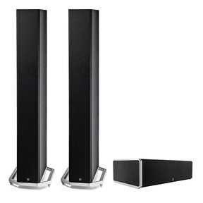 """BP9060 High Power Bipolar Tower Speakers with Integrated 10"""" Subwoofer (Pair) with CS9060 High-Performance Center Channel Speaker (Black)"""