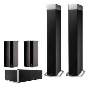 BP9080 5.0 High Power Bipolar Tower Speaker Package with Integrated Subwoofers (Black)
