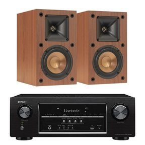 AVR-S530BT 5.2 Channel Full 4K Ultra HD AV Receiver with Klipsch R-14M Reference Monitor Speakers - Pair (Cherry)
