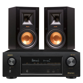AVR-X1400H 7.2 Channel AV Receiver with HEOS and Klipsch R-15M Bookshelf Speakers - Pair (Black)