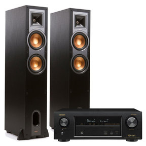 AVR-X1400H 7.2 Channel AV Receiver with HEOS and Klipsch R26F Floorstanding Speakers - Pair (Black)
