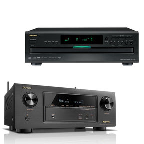 AVR-X2300W 7.2 Channel Full 4K Ultra HD Bluetooth A/V Receiver and Onkyo DX-C390 6-Disc CD Player