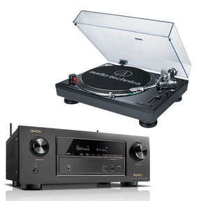 AVR-X2300W 7.2 Channel Full 4K Ultra HD Bluetooth A/V Receiver with AudioTechnica AT-LP120BK-USB Direct-Drive Professional USB & Analog Turntable (Black)
