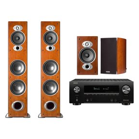 AVR-X2500H 7.2-Channel 4K Ultra HD AV Receiver with Polk RTiA7 Floorstanding Speakers and RTIA3 Bookshelf Speakers (Cherry)