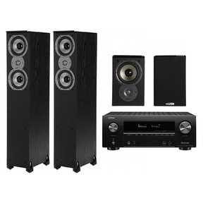 AVR-X2500H 4K AV Receiver w/ Polk TSi300 Tower & TSi100 Bookshelf Speakers (Black)