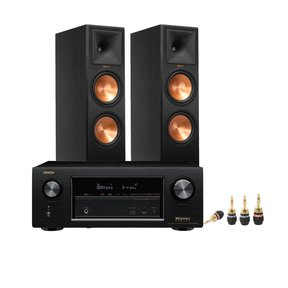 AVR-X3300W 7.2 Channel Full 4K Ultra HD AV Receiver w/ Klipsch RP-280F Ebony Reference Premiere Floorstanding Speakers & MKII Gold Banana Plugs
