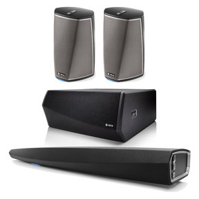 HEOS 5.1 Channel Speaker System with Wireless Soundbar, Subwoofer, and HEOS1 Speakers - Pair (Black)