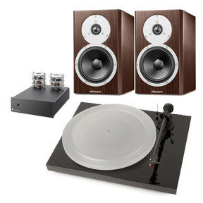 Excite X14A High-End Bookshelf Speakers with Pro-Ject Debut Carbon DC Esprit SB 3-Speed Turntable and Tube Box S Phono Preamplifier with Tube Output