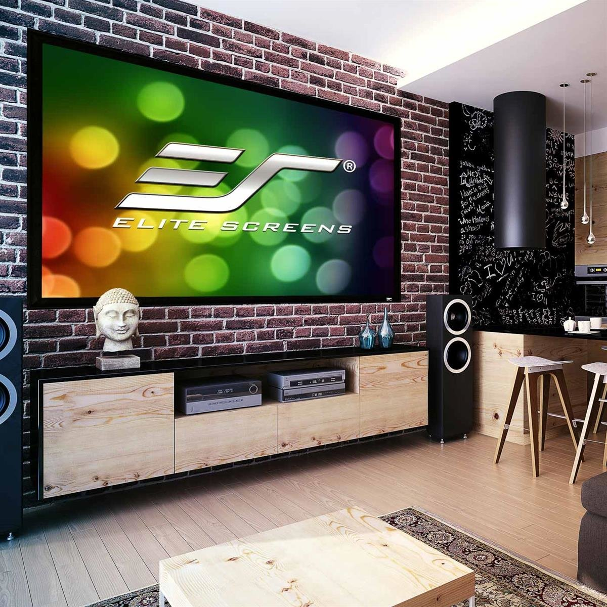 Elite Screens ER92WH2 Sable Fixed Frame 2 Series 92 Projector