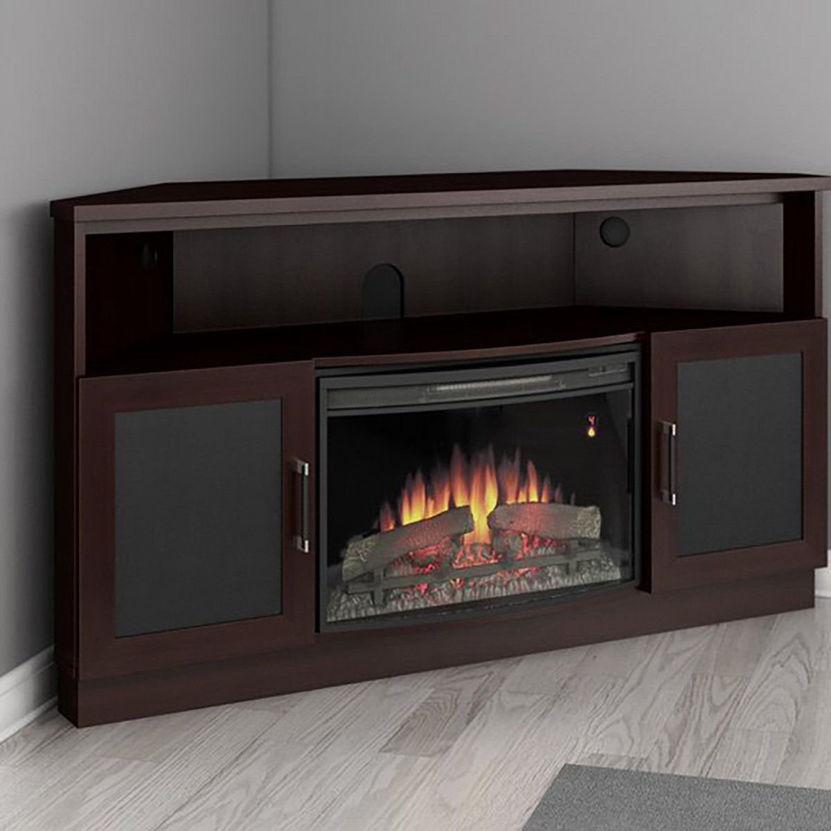 Furnitech 60 Ft60cccfb Corner Electric Fireplace Tv Stand Wenge