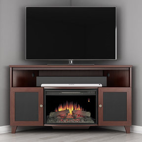 "61"" FT61SCCFB Corner Electric Fireplace TV Stand (Dark Cherry)"