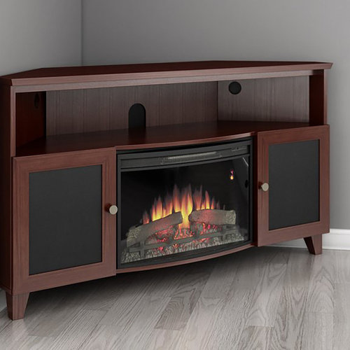 "View Larger Image of 61"" FT61SCCFB Corner Electric Fireplace TV Stand (Dark Cherry)"