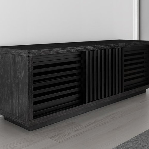 "View Larger Image of 64"" FT64WSEB TV Stand Media Console (Black American Oak)"