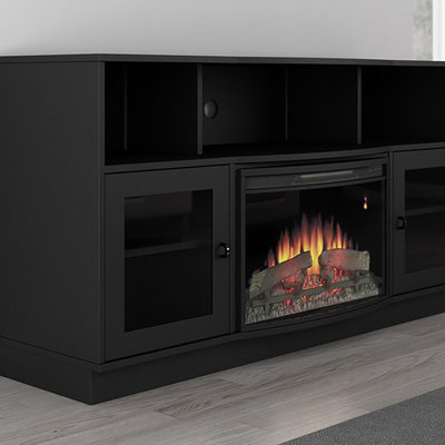 Furnitech 70 Quot Ft70scfb Electric Fireplace Tv Stand Dark