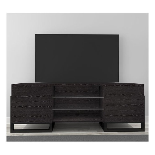 """View Larger Image of 70"""" FT70ST Art Deco TV Console (High Gloss Black)"""