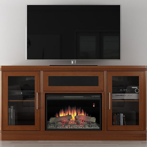 "View Larger Image of 70"" FT70TRFB Electric Fireplace TV Stand (Light Cherry)"