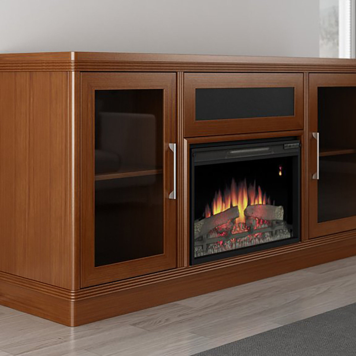 Furnitech 70 Quot Ft70trfb Electric Fireplace Tv Stand Light