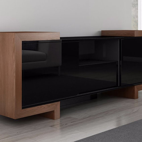 "View Larger Image of 75"" FT75FA TV Stand Media Console (Black Lacquer Oak)"