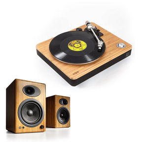 Stir It Up Natural Bamboo Turntable with Built-in Pre-Amp and Audioengine A5+ Classic Powered Bookshelf Speakers (Bamboo)