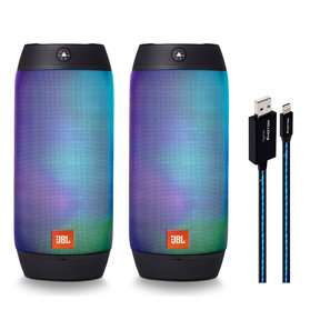 JBL Pulse 2 Splashproof Portable Bluetooth Speaker Pair (Black) and PipeLine Photon Lighted USB Cable - 3 Feet (Blue)