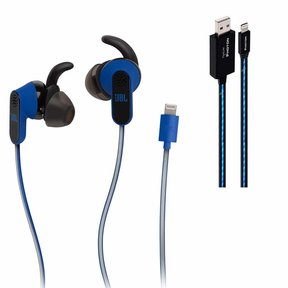 Reflect Aware In-Ear Sports Headphones with Noise Cancellation and Adaptive Noise (Blue) and Pipeline Photon Lighted USB Cable - 3 feet (Blue)