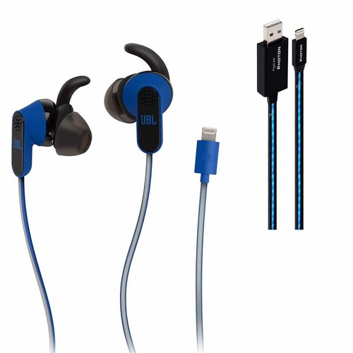 View Larger Image of Reflect Aware In-Ear Sports Headphones with Noise Cancellation and Adaptive Noise (Blue) and Pipeline Photon Lighted USB Cable - 3 feet (Blue)