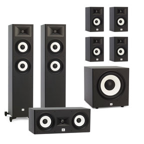 "Stage A180 7.1 Channel Home Theater Speaker Package with Stage A100P 10"" 300W Powered Subwoofer"