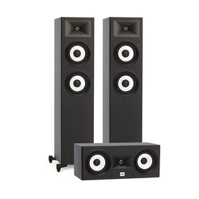 Stage A180 Floorstanding Speaker Pair with JBL Stage A125C Compact Center Loudspeaker (Black)