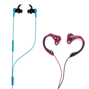 Synchros Reflect-I In-Ear Sport Headphones for iOS Devices (Blue) and Polk UltraFit 500 Mid-Flange Earphones (Pink/Gray)