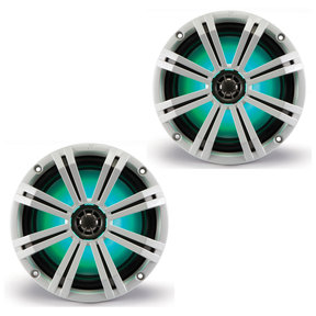 "43KM84LCW 8"" LED-Lit Marine Coaxial Speakers"
