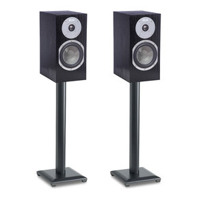 Albany Bookshelf Speakers (Black Oak) with Sanus NF30B Speaker Stands