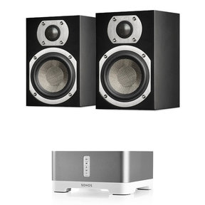 Ames 2-Way Bookshelf Speakers with Sonos CONNECT:AMP Wireless Amplifier for Streaming Music