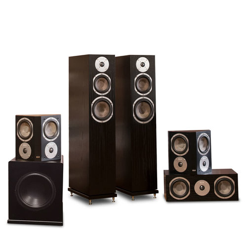 "View Larger Image of Quincy 5.1 Speaker System with 10"" Subwoofer (Black Oak)"