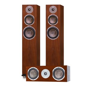Quincy Floorstanding Speakers - Pair (Walnut) with Story Center Channel Speaker (Walnut)