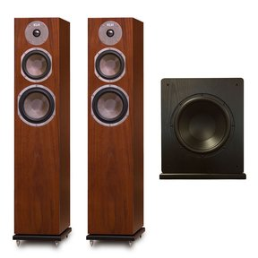 Quincy Floorstanding Speakers - Pair (Walnut) with Windsor 10 Subwoofer (Black)
