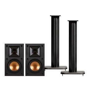 "R-14M Reference Monitor Speakers with Sanus NF18B 18"" Speaker Stands - Pair (Black)"