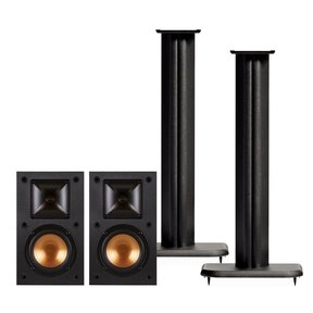 "R-14M Reference Monitor Speakers with Sanus NF24B 24"" Speaker Stands - Pair (Black)"