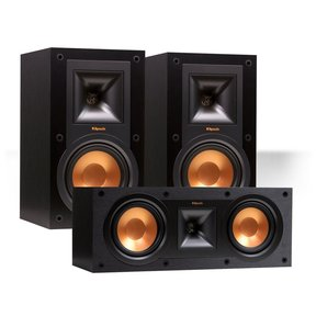 R-15M Reference Bookshelf Monitor Speaker Pair with R-25C Center Speaker (Black)