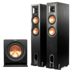 "R-26PF Powered Floorstanding Speakers with R-110SW 10"" 200 Watt Subwoofer (Black)"