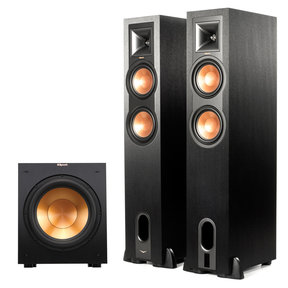 """R-26PF Powered Floorstanding Speakers with R-12SW 12"""" 400W Powered Subwoofer (Black)"""