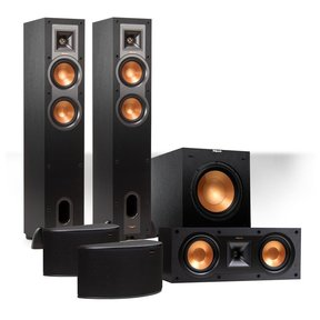 """Reference 5.1 Channel R-24F Surround Home Theater Speaker Bundle with 12"""" Subwoofer (Black)"""