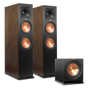 """RP-280F Reference Premiere Floorstanding Speakers (Walnut) with R-112SW 12"""" Reference Series Powered Subwoofer (Black)"""