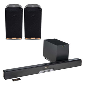 RSB-8 Reference Sound Bar with Wireless Subwoofer with RW-1 Wireless Speakers - Pair (Black)