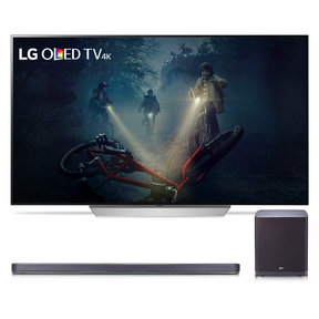 """OLED55C7P 55"""" OLED 4K UHD HDR Smart TV and SJ9 5.1.2 Channel High Resolution Audio Soundbar with Dolby Atmos and Wireless Subwoofer"""