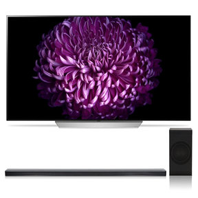 """OLED65C7P 65"""" OLED 4K UHD HDR Smart TV with SJ8 4.1 Channel High Resolution Audio Soundbar with Wireless Subwoofer"""