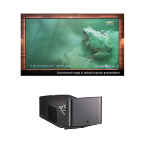 "PF1000UW Ultra Short Throw LED Home Theater Projector with Elite Screens AR100H-CLR 100"" Projector Screen"