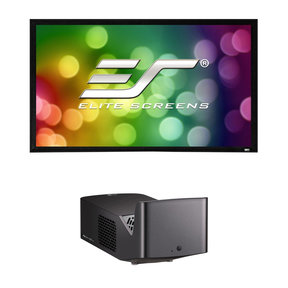 """PF1000UW Ultra Short Throw LED Home Theater Projector with Elite Screens ER100WH2 100"""" Projector Screen"""