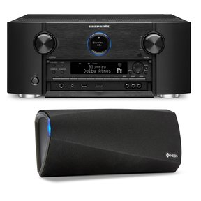 AV7703 11.2 Channel Full 4K Ultra HD A/V Pre-Amplifier with Bluetooth and Wi-Fi with Denon HEOS 3 Dual-Driver Wireless Speaker System - Series 2