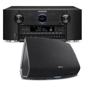 AV7703 11.2 Channel Full 4K Ultra HD A/V Pre-Amplifier with Bluetooth and Wi-Fi with Denon HEOS 5 Four-Driver Wireless Speaker System - Series 2